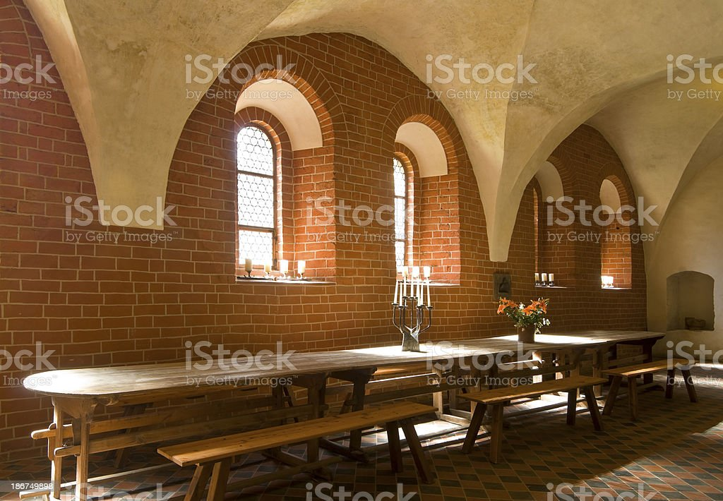 Knight's hall from the Romanesque period stock photo