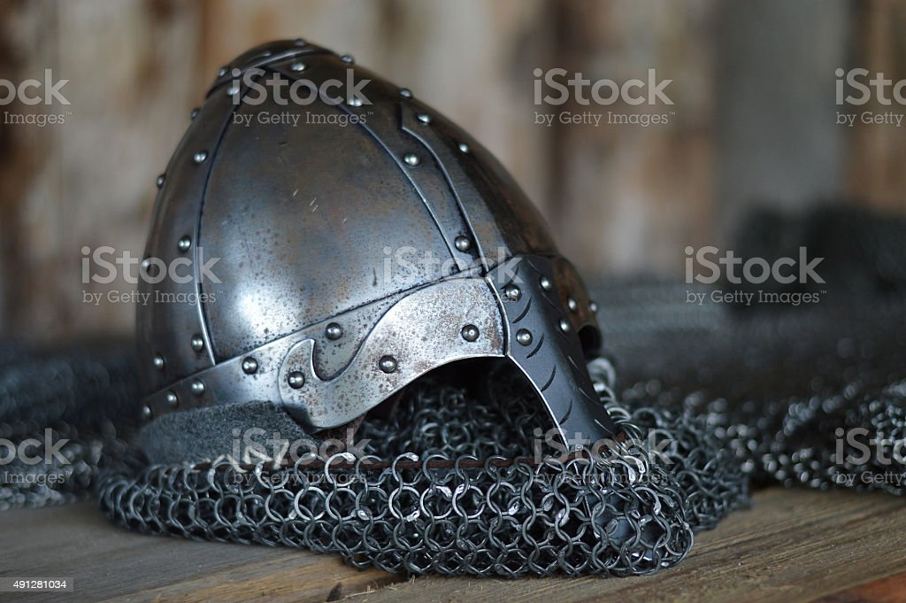 Knight's helmet in the Middle Ages stock photo