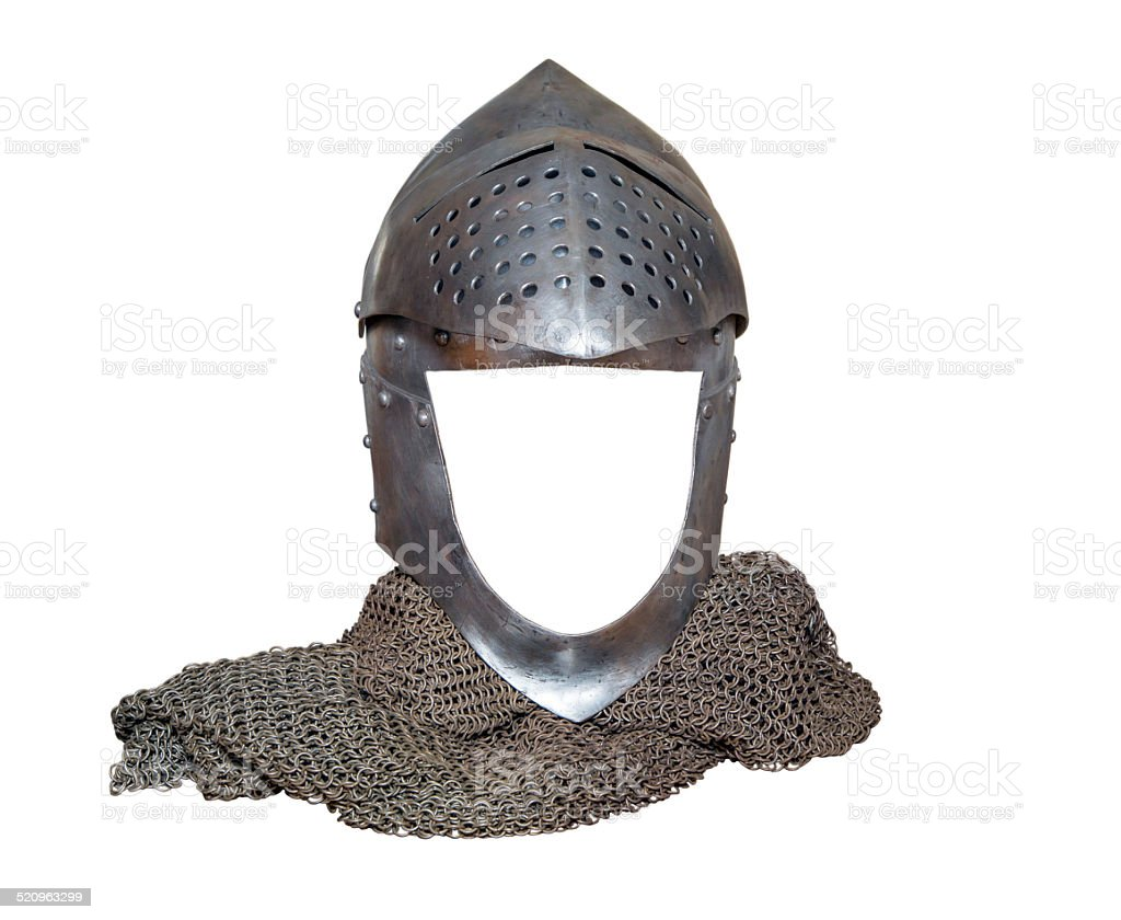 knight's helmet raised with visor stock photo