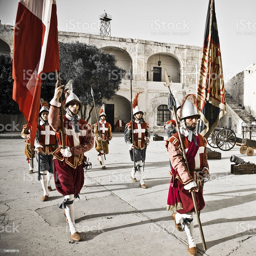knights marching in fortress royalty-free stock photo