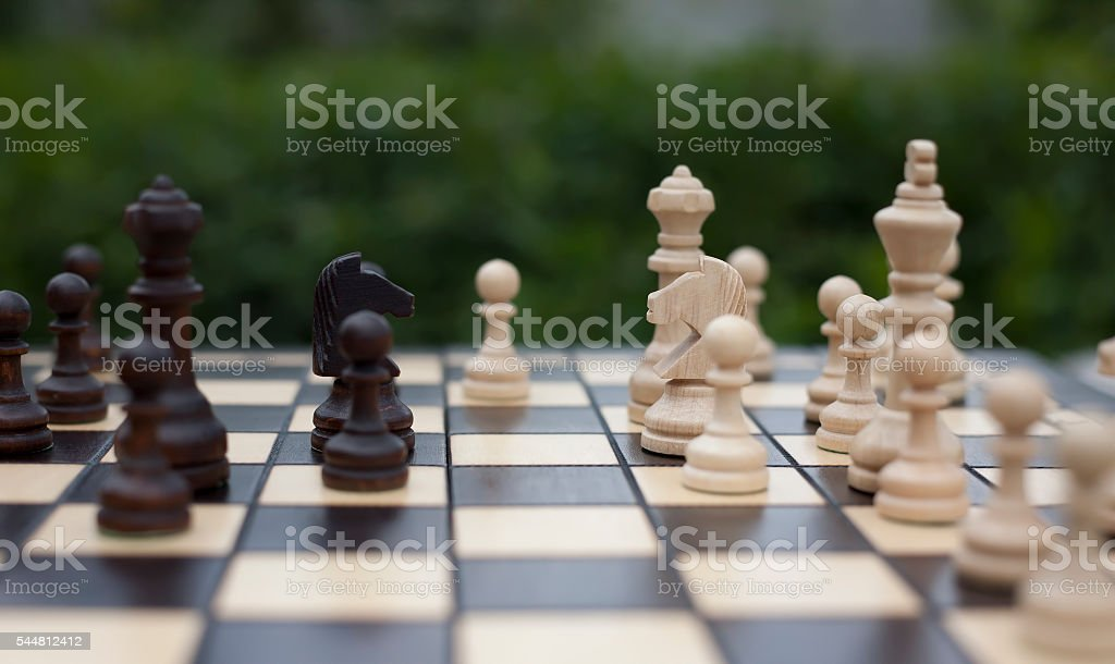 knights, pawns and other wooden chess pieces on the chessboard stock photo