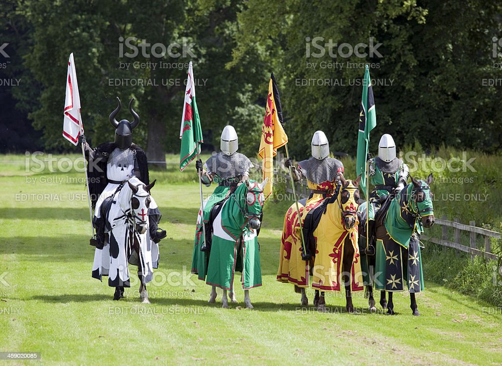 Knights preparing for a Jousting re-enactment royalty-free stock photo