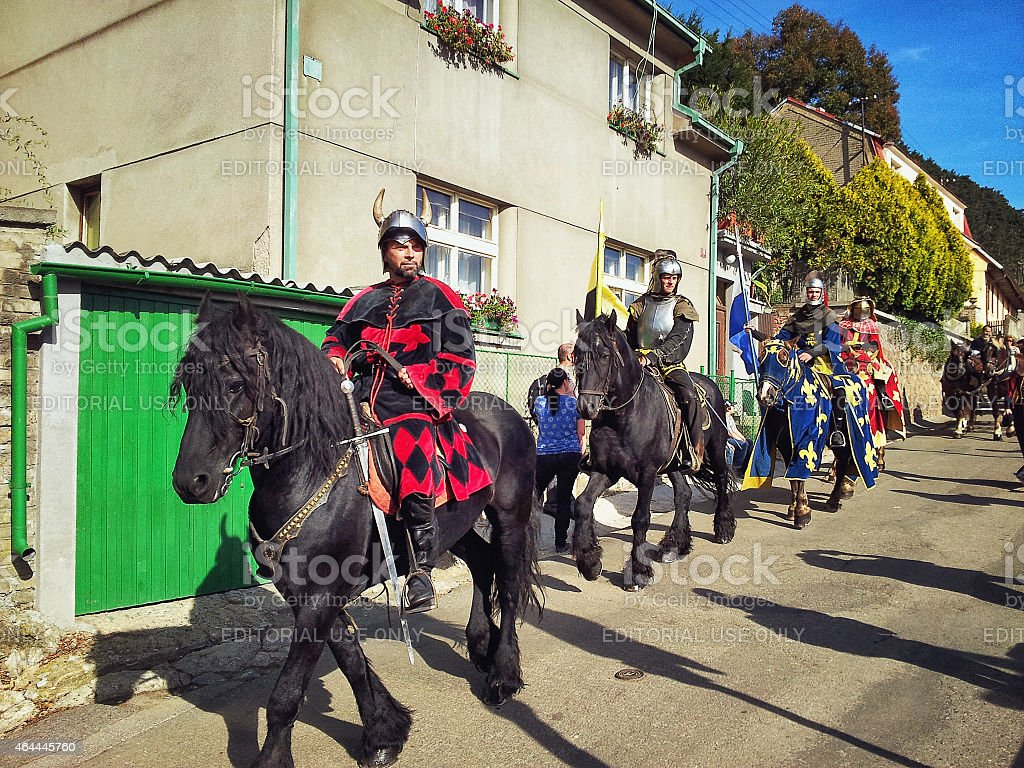 Knights ride to the tournament stock photo