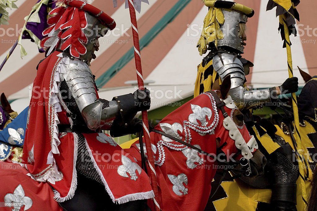 Knights Riding By stock photo