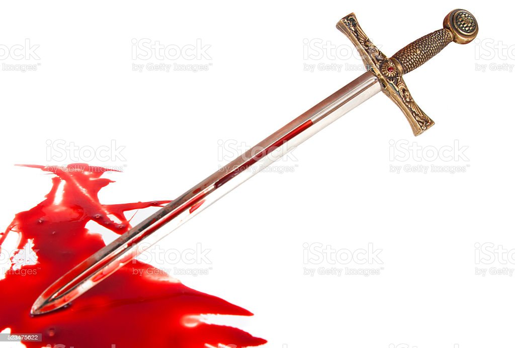 Knight's sword in the blood stock photo
