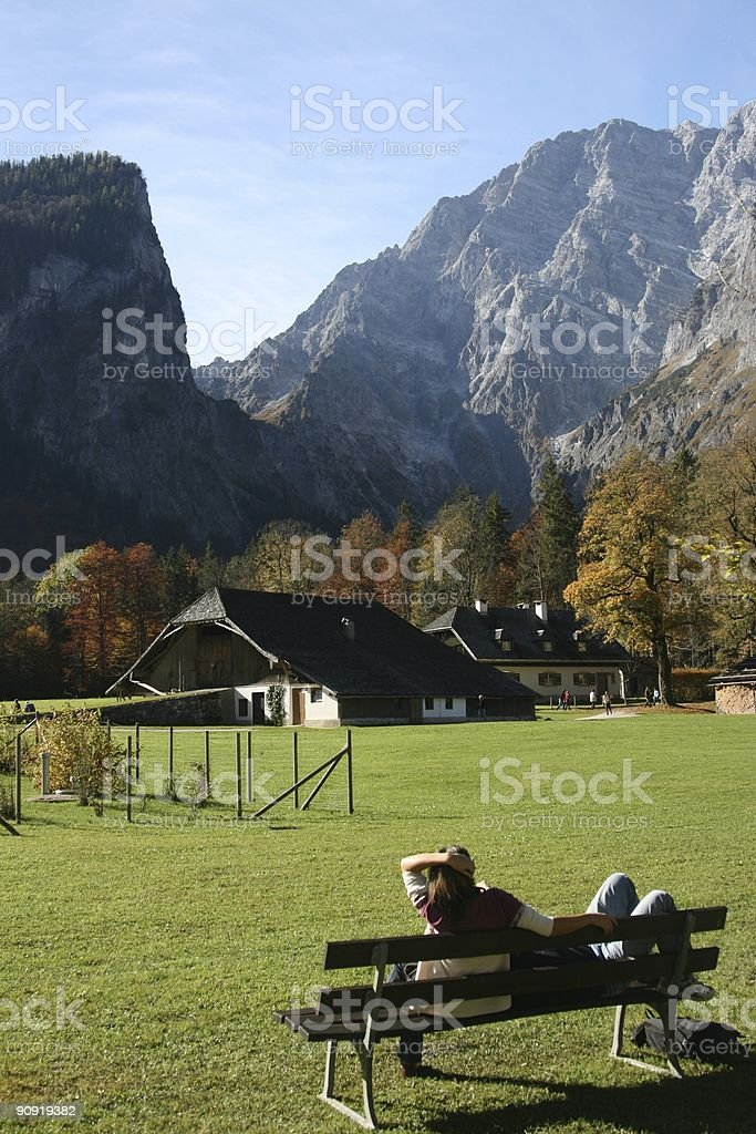 K?nigssee Relax in View of Watzman royalty-free stock photo