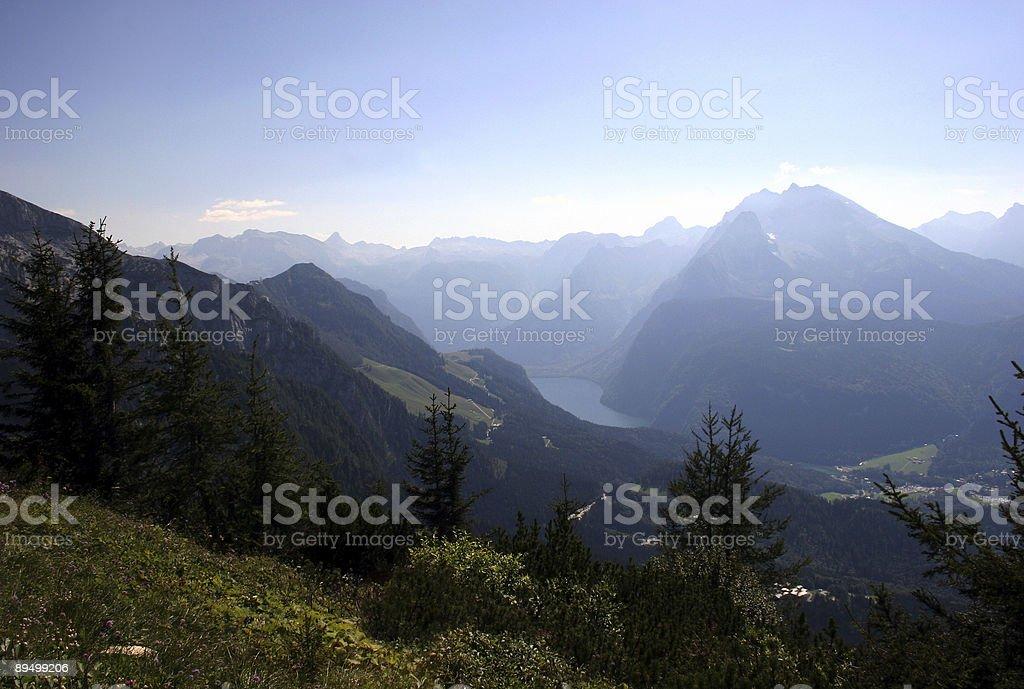 K?nigssee und Berchtesgadener Alpen vom Kehlstein stock photo