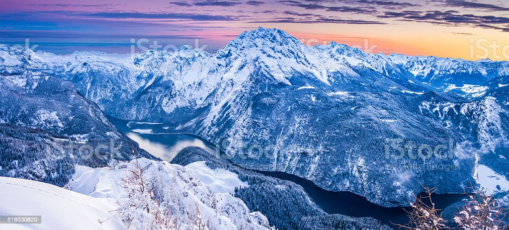 Königssee with Watzmann mountain at sunset in winter, Bavaria, Germany stock photo