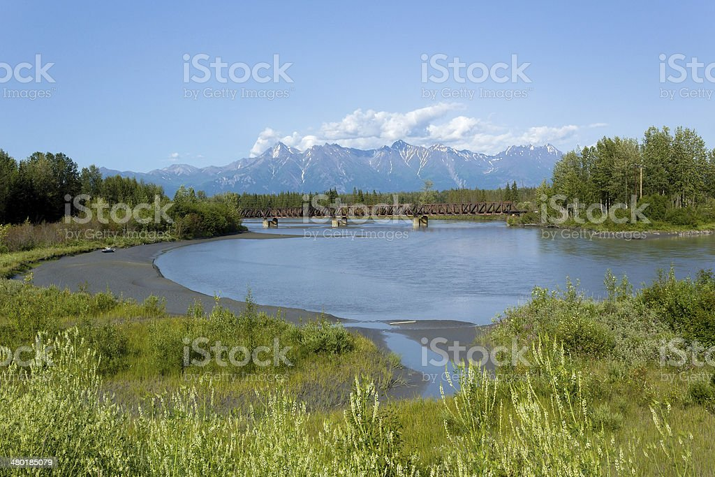 Knik River, Alaska in summer stock photo