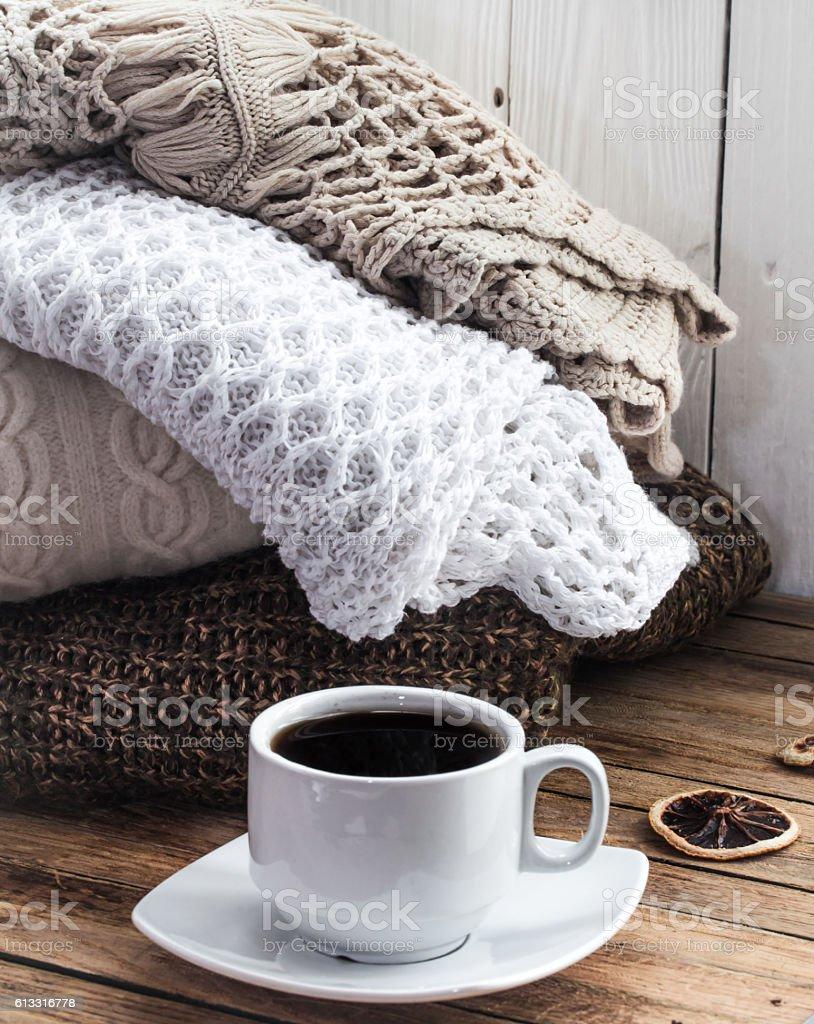 Knit cozy sweater folded stack stock photo