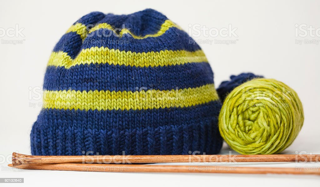 Knit Hat and Needles royalty-free stock photo