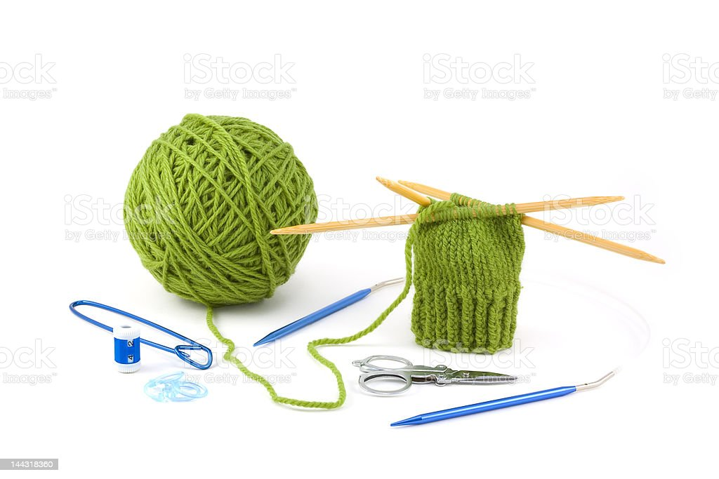 Knit Mitten Project and Tools royalty-free stock photo