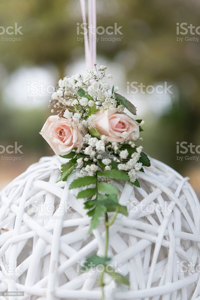 Knited sphere decoration. stock photo