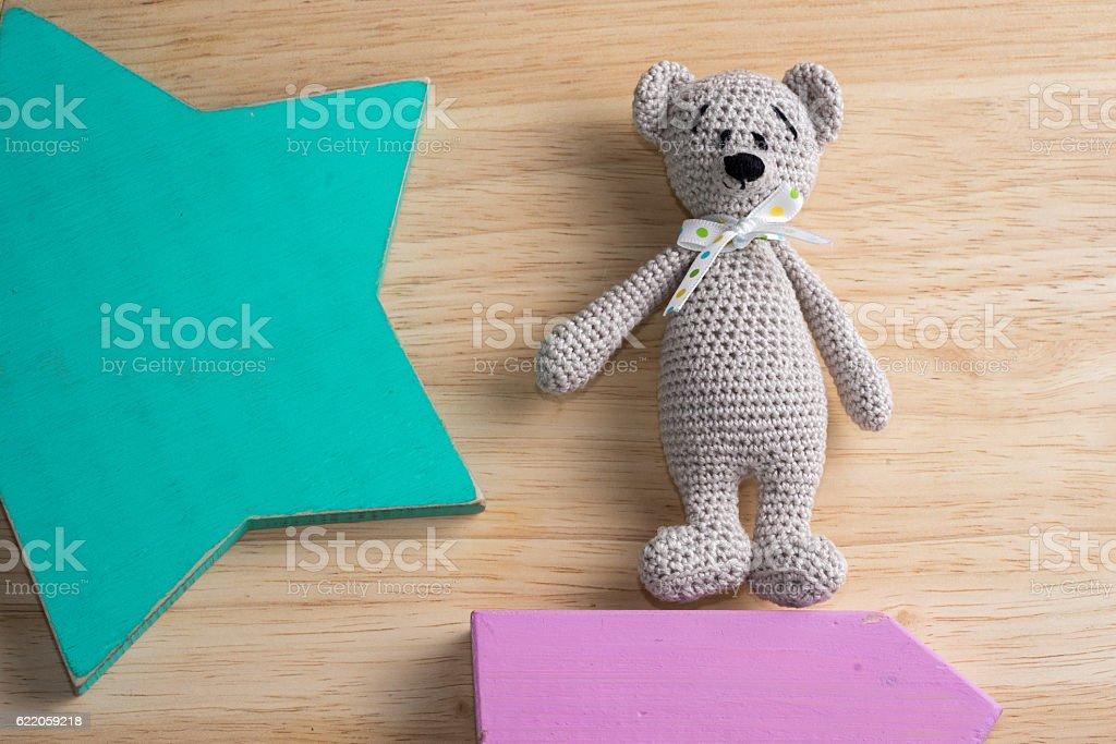 knitted amigurumi toy bear stock photo