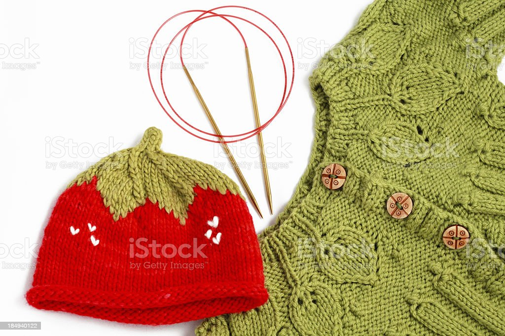 knitted baby layette stock photo