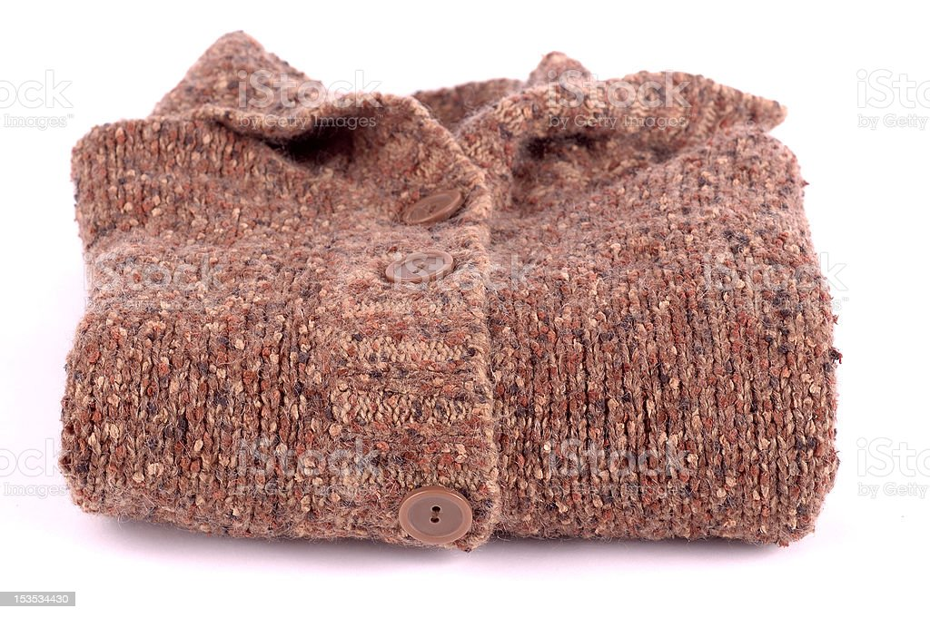 Knitted brown jersey folded royalty-free stock photo