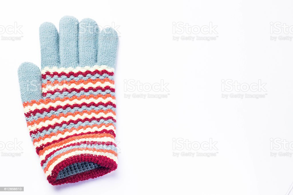 knitted gloves stock photo