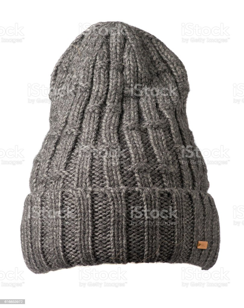 knitted hat isolated on white background . hat gray . stock photo