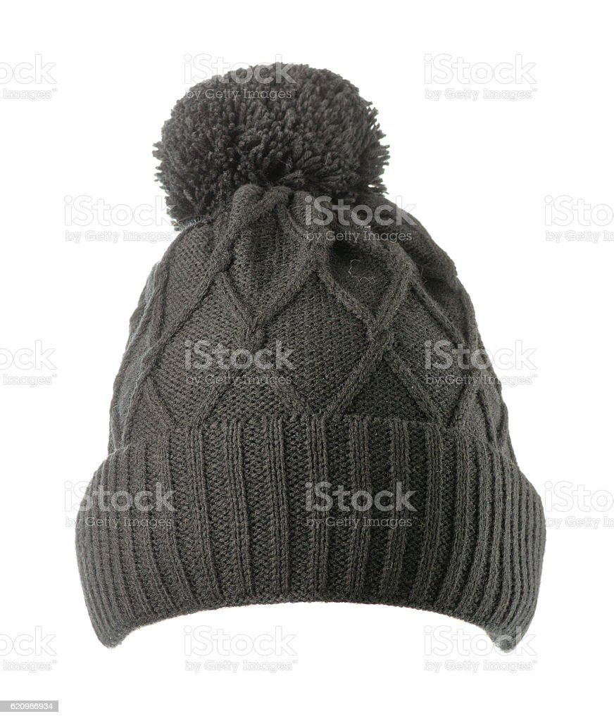 knitted hat isolated on white background .hat with pompon stock photo