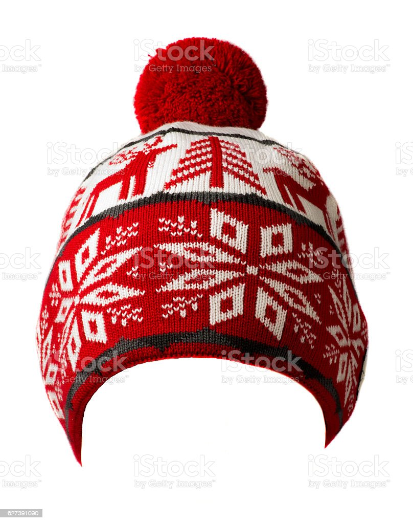 knitted hat isolated on white background .hat with pompon . stock photo