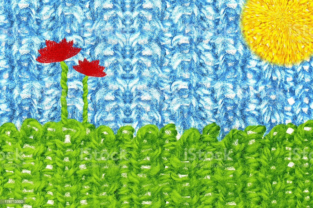 Knitted landscape in sunny day stock photo