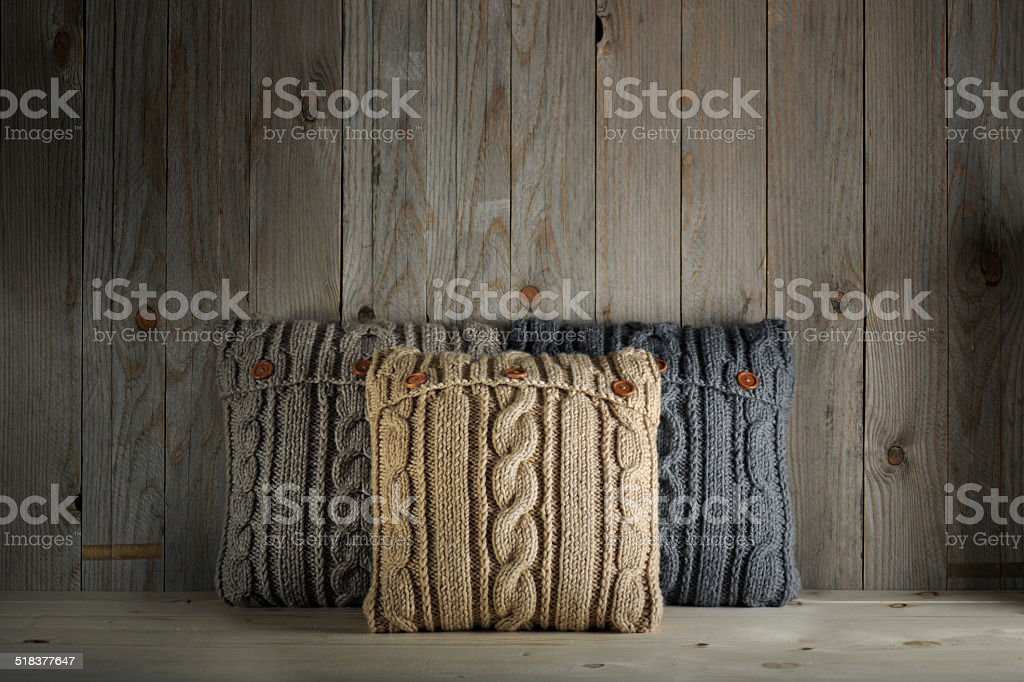 knitted pillows stock photo