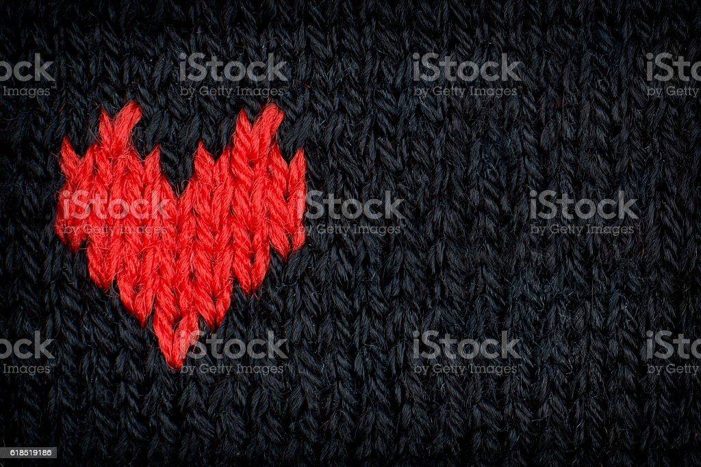 Knitted Red Heart stock photo