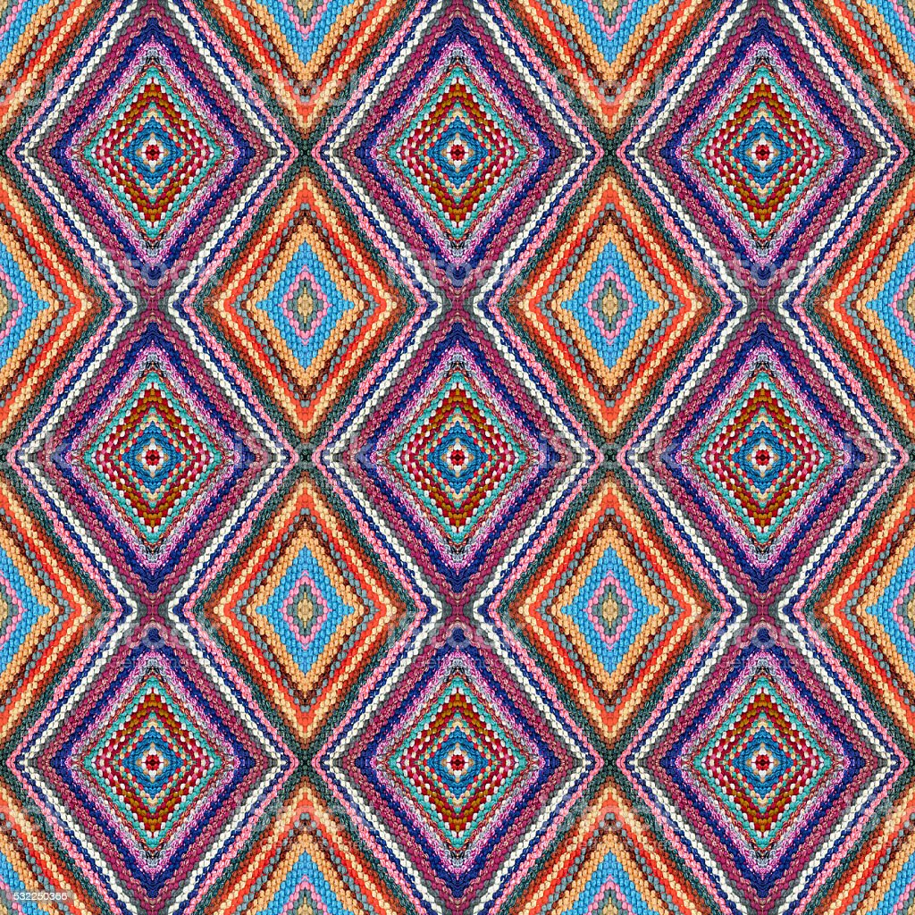 Knitted rug with striking pattern stock photo
