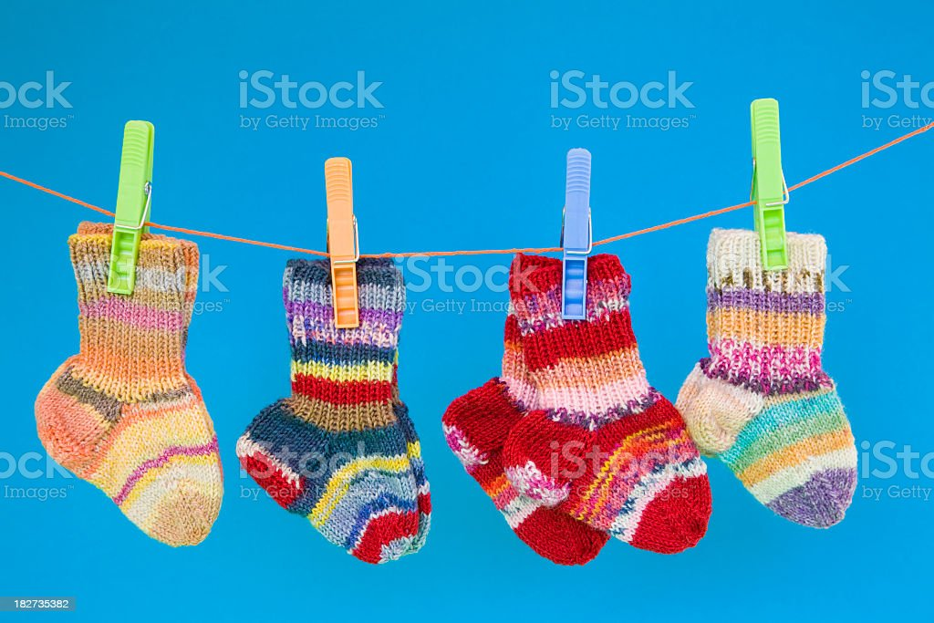 Knitted wollen socks for children royalty-free stock photo