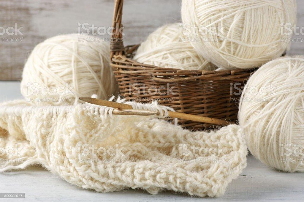 Knitting and yarn royalty-free stock photo