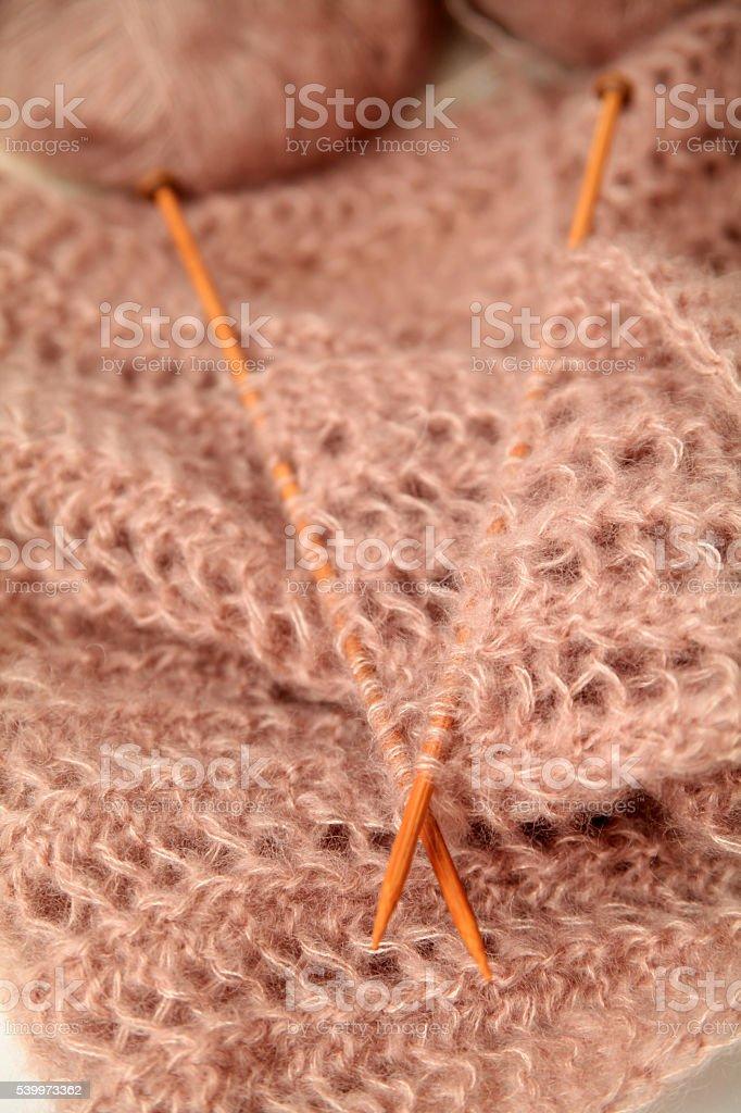 Knitting background with needles stock photo