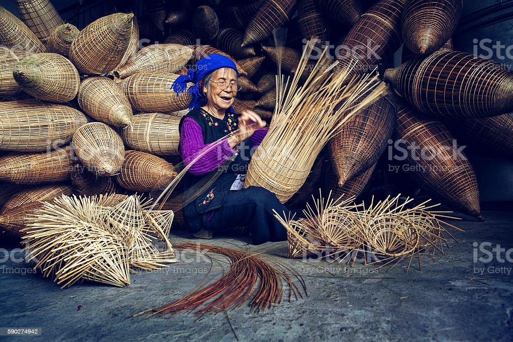 Knitting bamboo fishing tools, Hung Yen, Vietnam stock photo