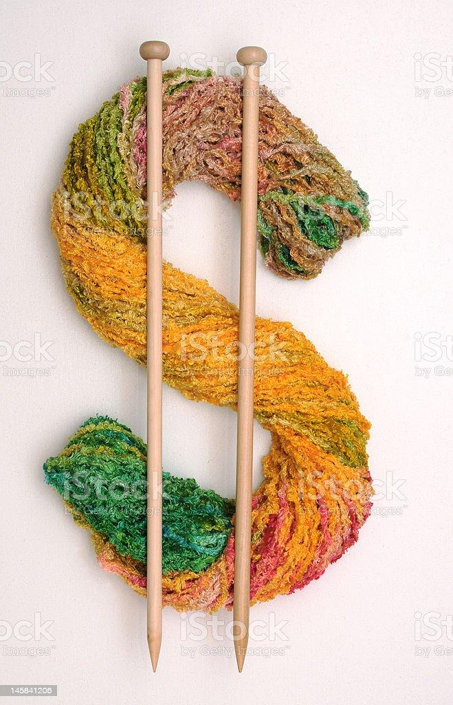 Knitting for money royalty-free stock photo