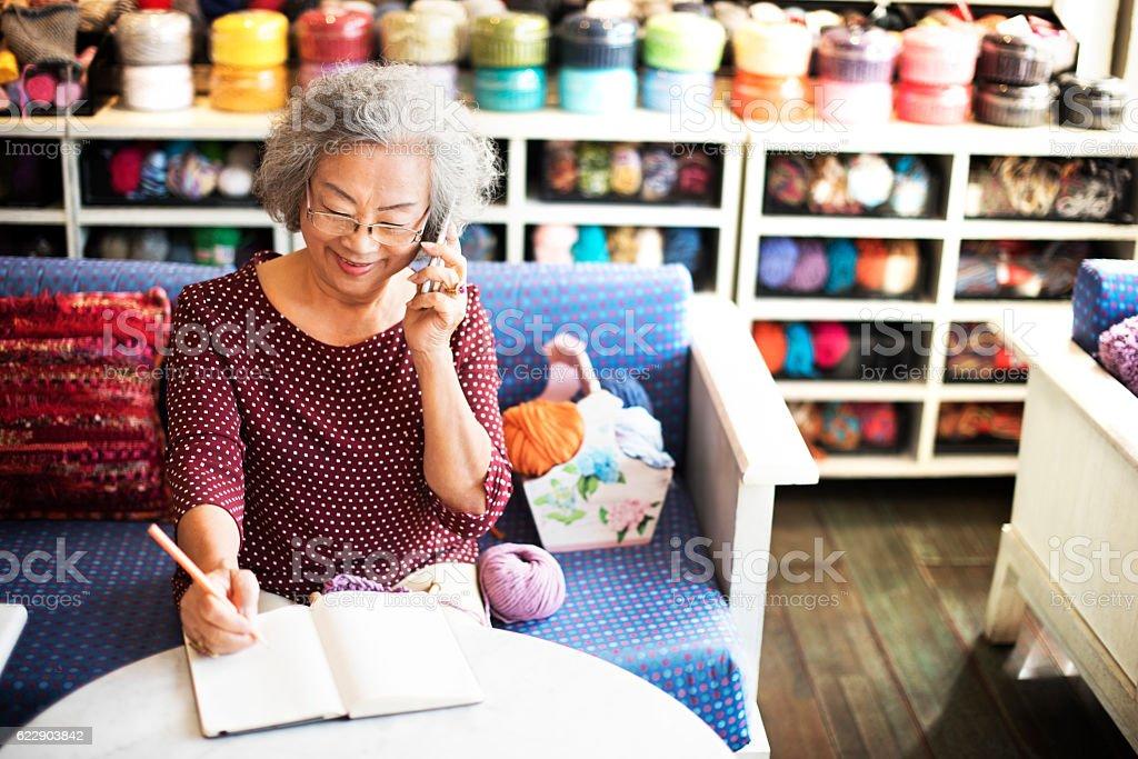 Knitting Handcraft Leisure Activity Recreational Pursuit Retirem stock photo