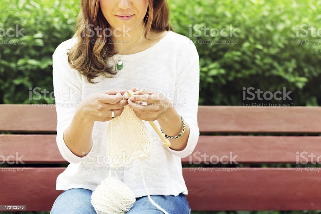 Knitting in a park royalty-free stock photo