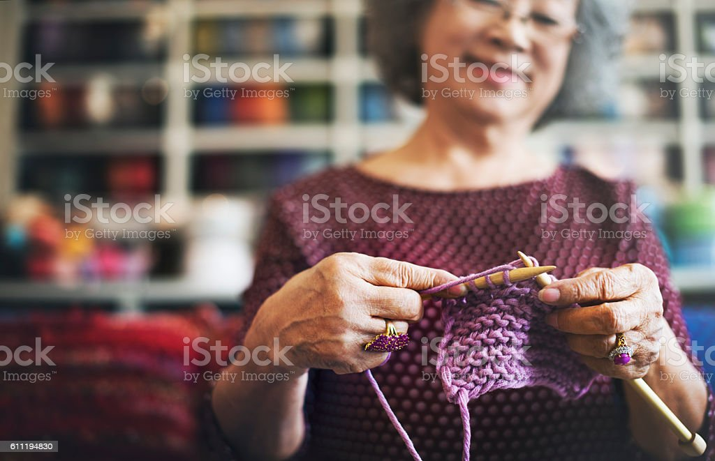 Knitting Knit Needle Yarn Needlework Craft Scarf Concept stock photo