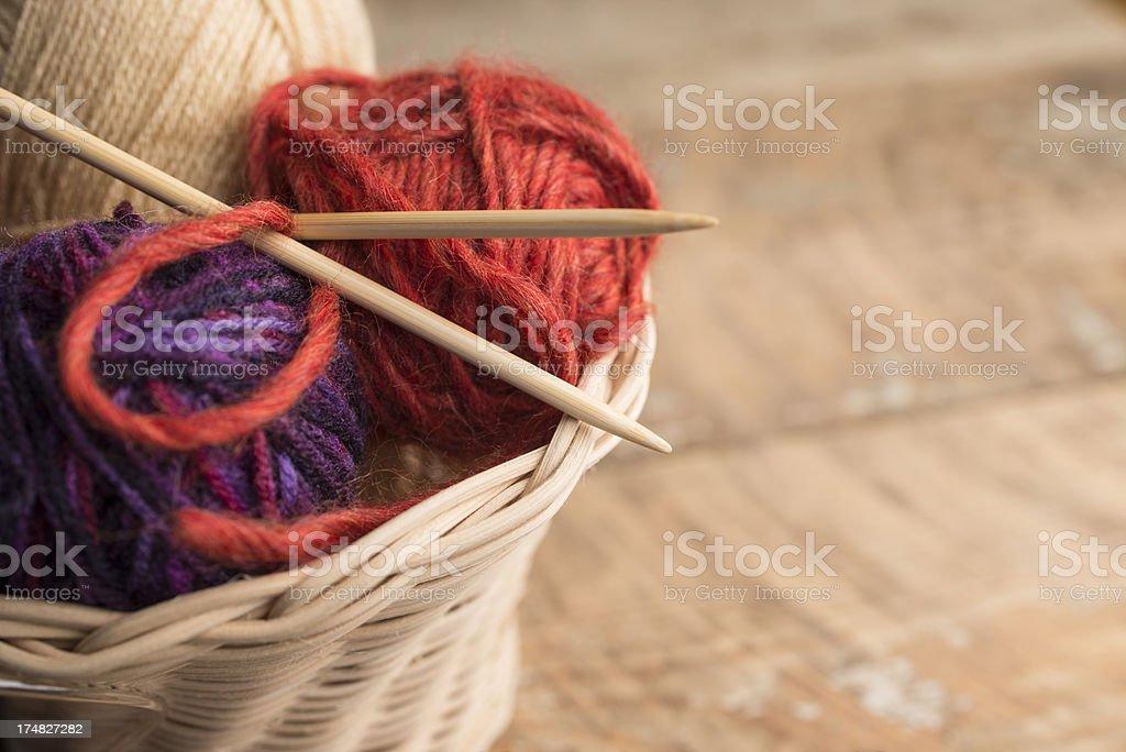 Knitting needle and wool stock photo