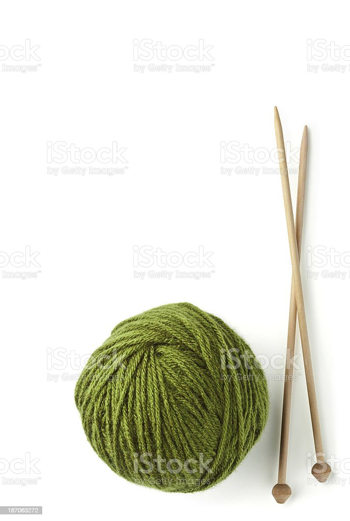 Knitting Needles and Ball of Yarn, Isolated on White. stock photo
