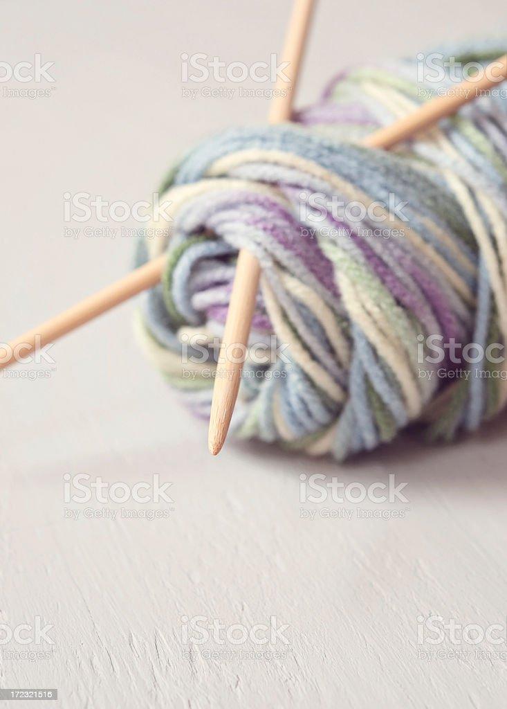 Knitting Needles and Wool royalty-free stock photo