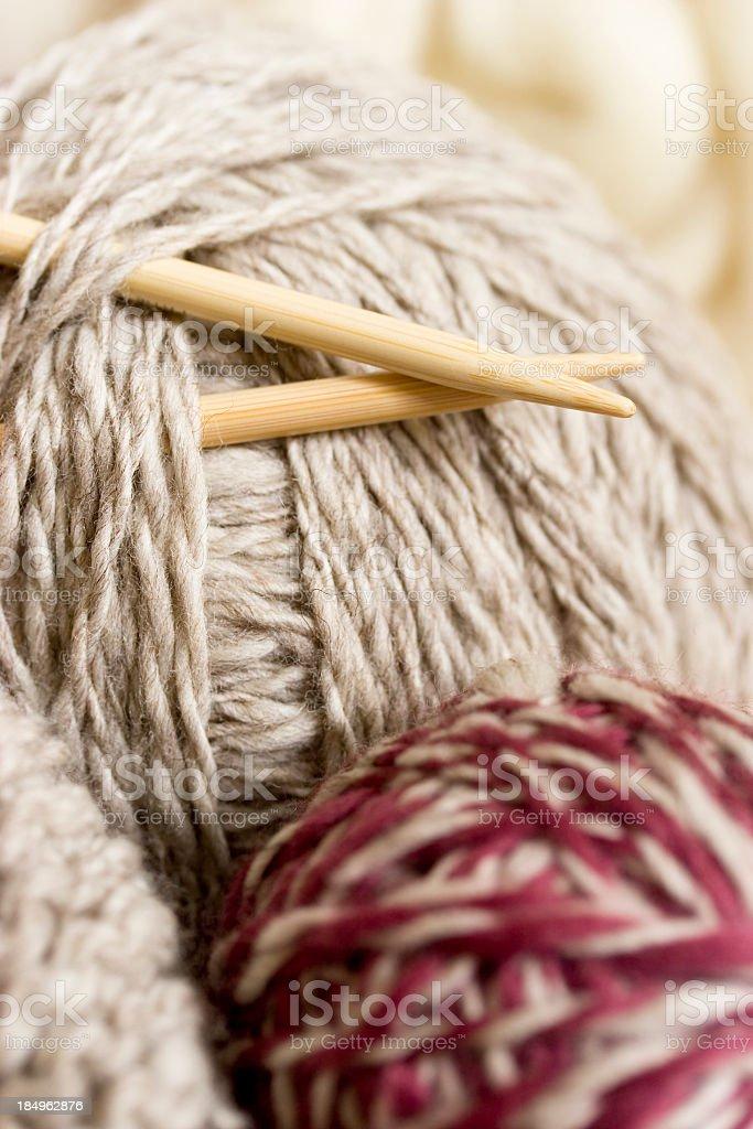 Knitting needles and wool stock photo