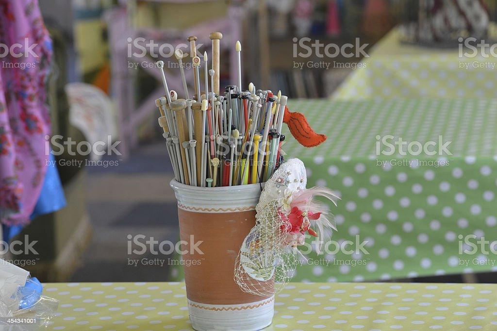 Knitting Needles in Jar royalty-free stock photo