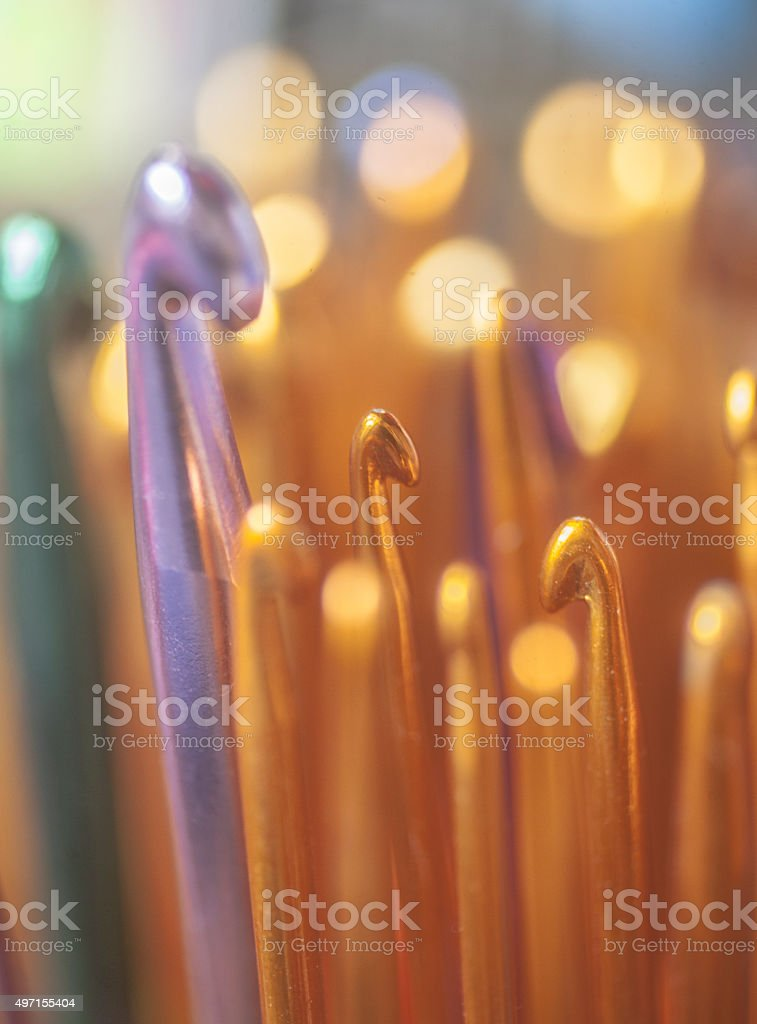 Knitting needles stock photo