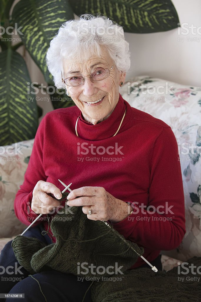 Knitting up a storm stock photo