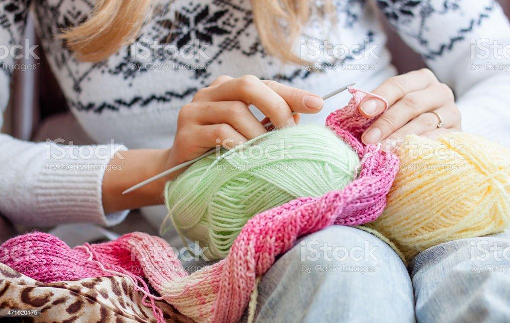 Knitting woman royalty-free stock photo
