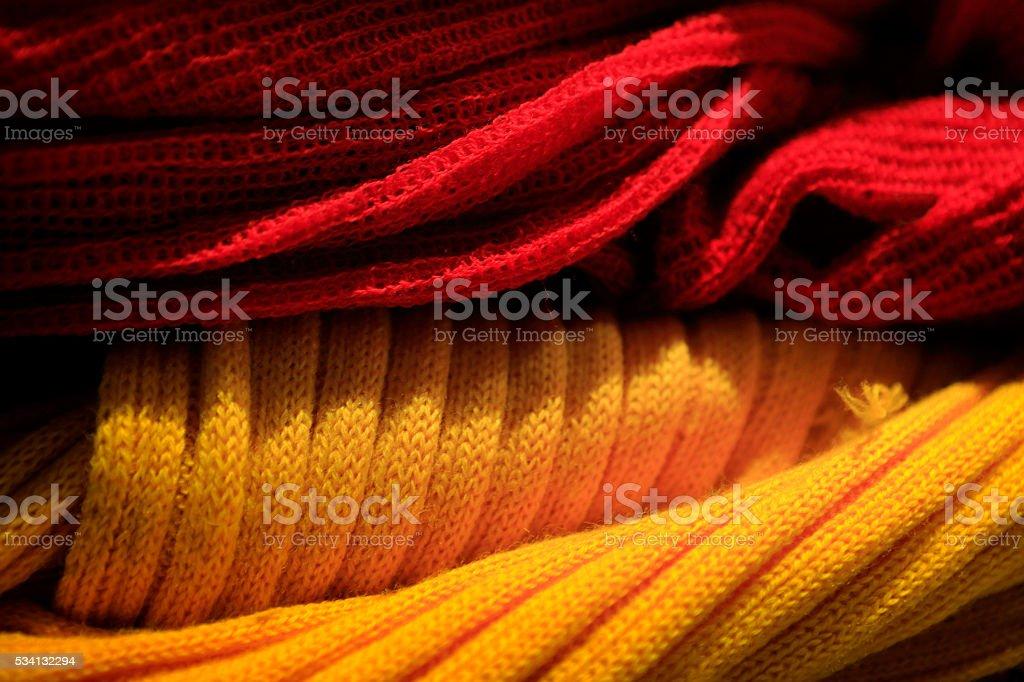 Knitting Wool Merino Natural Fibre Red Yellow stock photo