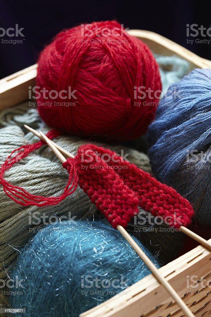 Knitting yarn balls and needles in basket stock photo