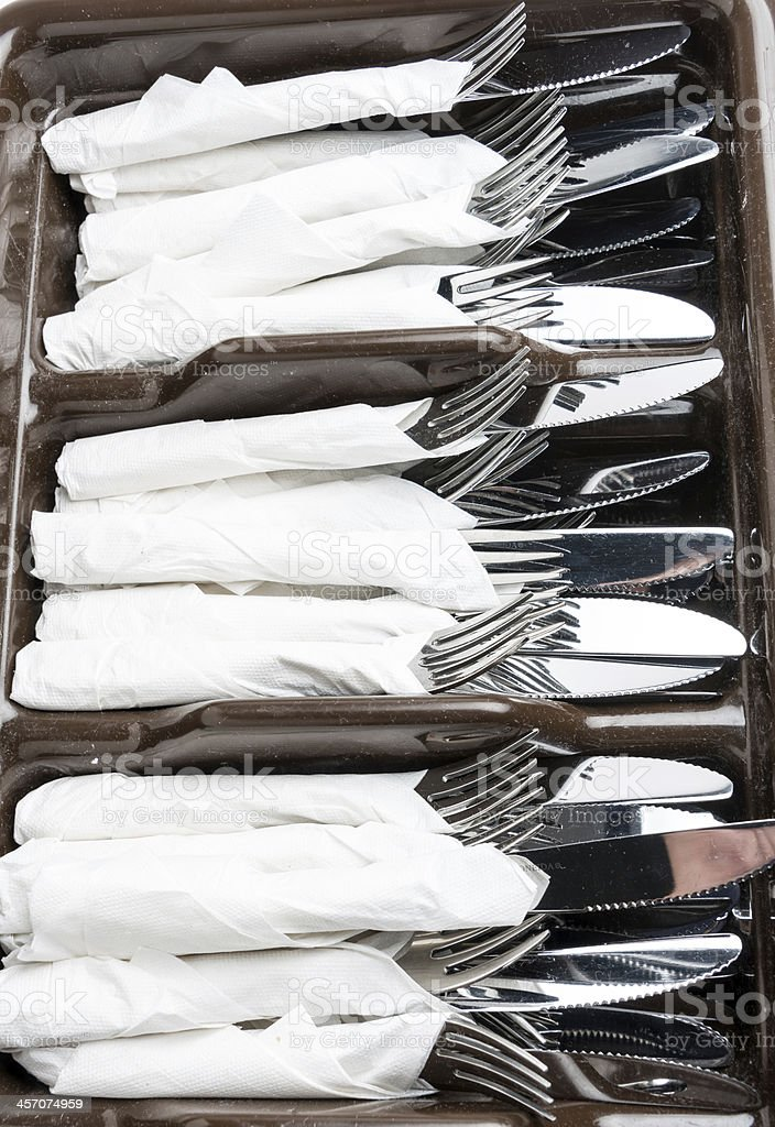 knives, forks, and napkins close up royalty-free stock photo