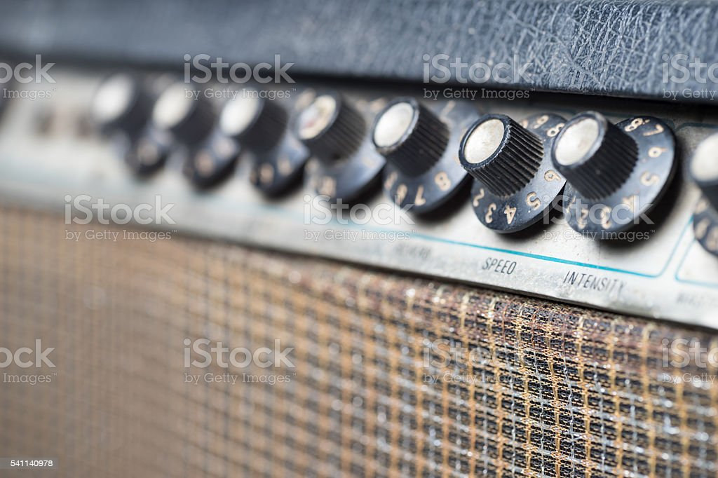Knob of Guitar Amplifier stock photo