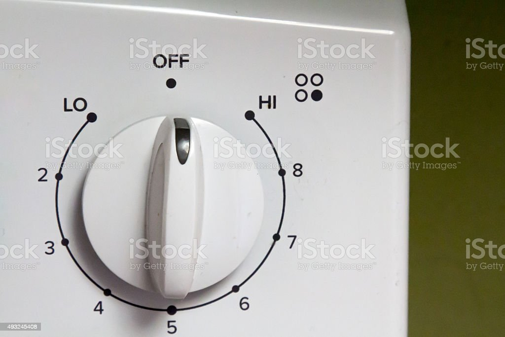 Knob on an electric oven stock photo