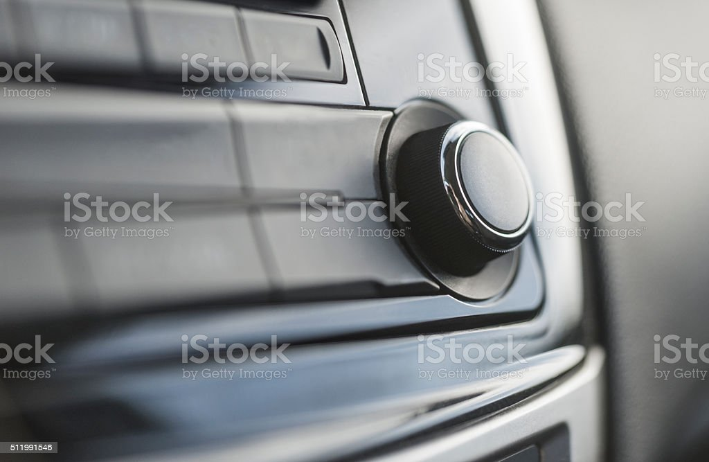 knob on modern car stereo stock photo